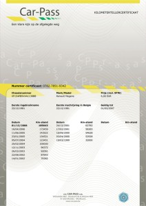 Car-Pass, le Certificat de compteur kilométrique. Obligatoire en Belgique depuis 2006.